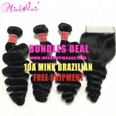 10A Grade Laxury Mink Hair 100% Brazilian Hair Weave Loose Wave