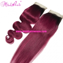 Light 1B/99J Two Tone Ombre Burgundy Lace Closure