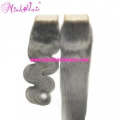 Mink Hair Vendor 10A Grade Grey Color Lace Closure