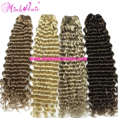 Minkhairweave.com Colorful Deep Wave 20inch Double Drawn Hair Very Thick Remy Virgin Hair Weave
