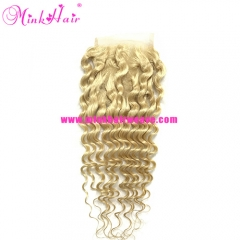10A Mink Brazilian Hair Deep Wave Blonde Lace Closure