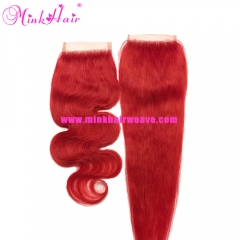 100% Remy Hair Body Wave and Silky Straight Red Lace Closure
