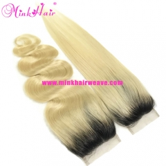 Mink Hair Supplier 4*4 Lace Closure 1B/613 Two Tone Dark Root Ombre Blonde Closure