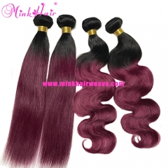 Light 99J Ombre Hair Body Wave Silky Straight Two Tone Mink Hair