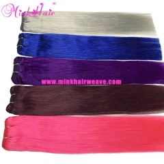 New Colorful Purple Hair Blue Hair Grey Hair Rose Red 99J Mink Human Hair Brazilian Hair