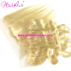 Wholesale 13*4 Frontal bleached knots Body Wave and Mink Straight #613 color Platinum Blonde Lace Frontal