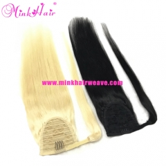 Mink Hair Wrap Around Ponytail Clip In 100% Human Hair Extensions Pontail Hair