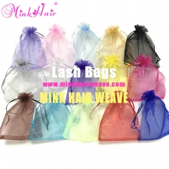 10pcs/lot 13*18cm Mink Lash Bags Organza Package Bag 15 Colors Lash Extensions Bag