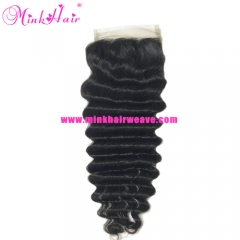2019 hot sell closure 4*4 wholesale human hair Mink Brazilian Hair Extensions Lace Closure Brazilian Deep Wave