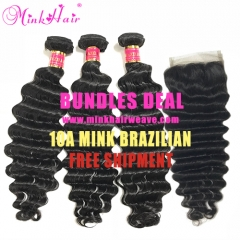 Mink Hair Factory 100% Virgin Remy Brazilian Deep Wave Bundles