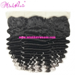 High Quality Natural Color Mink Brazilian Hair Lace Frontal 13*4 Deep Wave