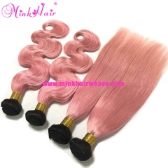 Mink Brazilian 10A Two Tone Dark Roots Ombre Pink Hair