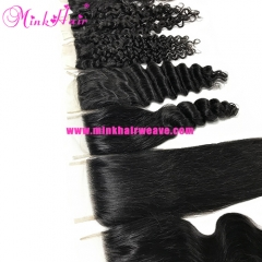 Mink Peruvian Lace Closure 10A Grade 100% Human Virgin Hair