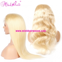 Mink Hair Blonde Full Lace Wig Silky Straight and Body Wave 10A Grade