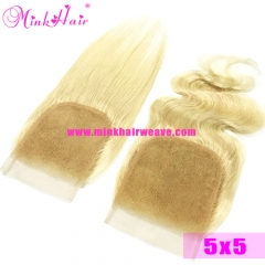 Mink Blonde Color 5*5 Pre-Plucked Baby Hair 150% Density Lace Closure