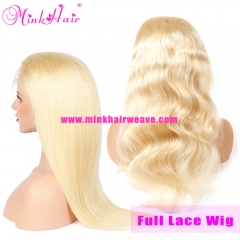 Mink Hair Blonde Full Lace Wig 10A Grade 180% Density Pre-Plucked With Baby Hair