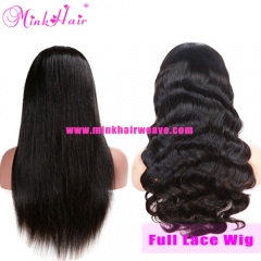 Full Lace Wig 1B Color 10A Mink Brazilian Hair Mink Hair Wig