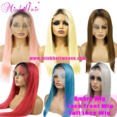 New Ombre Full Lace Wig and Lace Front Wig 150% Density Dark Root Wig