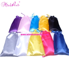 Silk Satin Hair Bags Drawstring Package Hair Bundles Wigs Packing