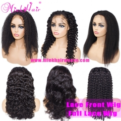 13x4 Lace Front Wig Full Lace Wig 150% Density Mink Brazilian Natural Color Human Hair Wigs