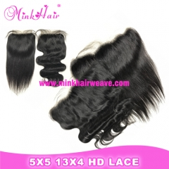 Mink Hair 13x4 HD Lace Frontal and 5x5 HD Lace Closure