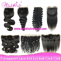 New Transparent Lace Closure, Transparent Lace Frontal Size 4x4 5x5 6x6 13x4 13x6
