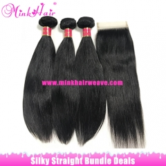 Mink Brazilian Straight Virgin Hair Extensions Bundle Deals