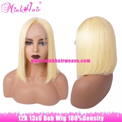 12A Grade 180% Density 13*6 Swiss Lace Blonde Bob Wig
