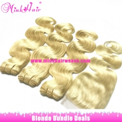 Blonde Hair Bundle Deals Free Shipping Mink Brazilian Hair Body Wave