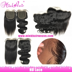 Mink Hair 13x4 HD Lace Frontal and 4x4 5x5 HD Lace Closure