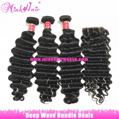 Mink Hair Factory 100% Virgin Brazilian Deep Wave Bundles