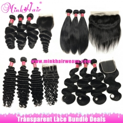 Transparent Lace Closure Lace Frontal Bundle Deals Mink Brazilian Hair