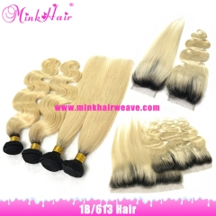 Mink Hair Two Tone Ombre Color Dark Roots 1B/613 Blonde Brazilian Hair