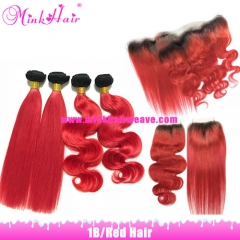 10A Mink Hair Two Tone Color Dark Roots Ombre Red Hair