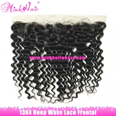 Brown Lace High Quality Natural Color Mink Brazilian Hair Lace Frontal 13*4 Deep Wave