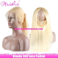 MINK HAIR COMPANY #613 Frontal Bleached Knots With Baby Hair Mink Platinum Blonde 360 Lace Frontal