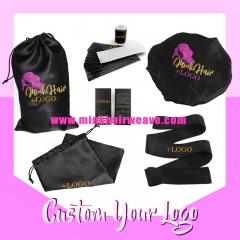 Custom Your Logo Wrap Labels, Hair Tags, Satin Hair Bag, Satin Head Wrap, Satin Bonnet