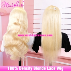 Transparent Lace 10A Blonde Lace Wig 180% Density Pre-Plucked With Baby Hair