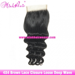 Brown Lace Mink Brazilian Hair Loose Deep Wave Lace Closure