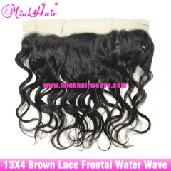 Brown Lace Wholesale 100% Virgin Brazilian Hair Water Wave Lace Frontal
