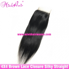 Brown Lace Wholesale Brazilian Mink Hair Extensions 4*4 Swiss Lace Silky Straight Lace Closure