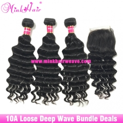 Free Shipment Mink Loose Deep Wave Brazilian Hair Bundle Deals