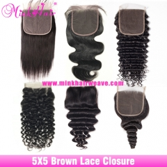 Brown Lace Mink Brazilian 5*5 Lace Closure 150% Density Pre-Plucked with Baby Hair Closure