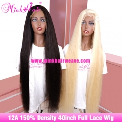12A Grade 40inch Full Lace Wig 30inch 34inch 36inch