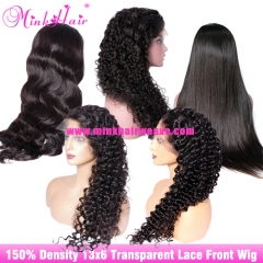 Transparent Lace Front Wig 13x6 Lace 150% Density 10A From One Donor Wig