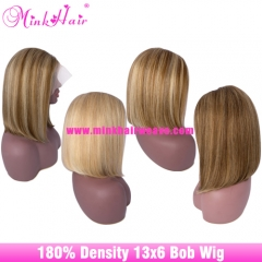 Free Shipping Transparent Bob Wig 10A 13x6 Lace 180% Density Ombre Color Wig