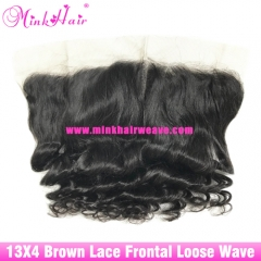 Brown Lace Mink Brazilian virgin hair extension 13*4 Lace Frontal Loose wave Mink wavy Mink brazilian Lace Frontal