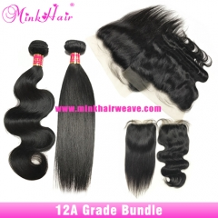 12A Grade Mink Brazilian Hair Vendor Body Wave And Silky Straight 100% Human Raw Hair