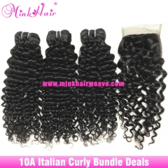 10A Italian Curly Bundle Deals Natural Color Mink Italian Hair