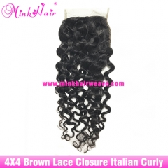 Brown Lace Wholesale Mink Hair Italian Curly Lace Closure Brazilian Hair Closure